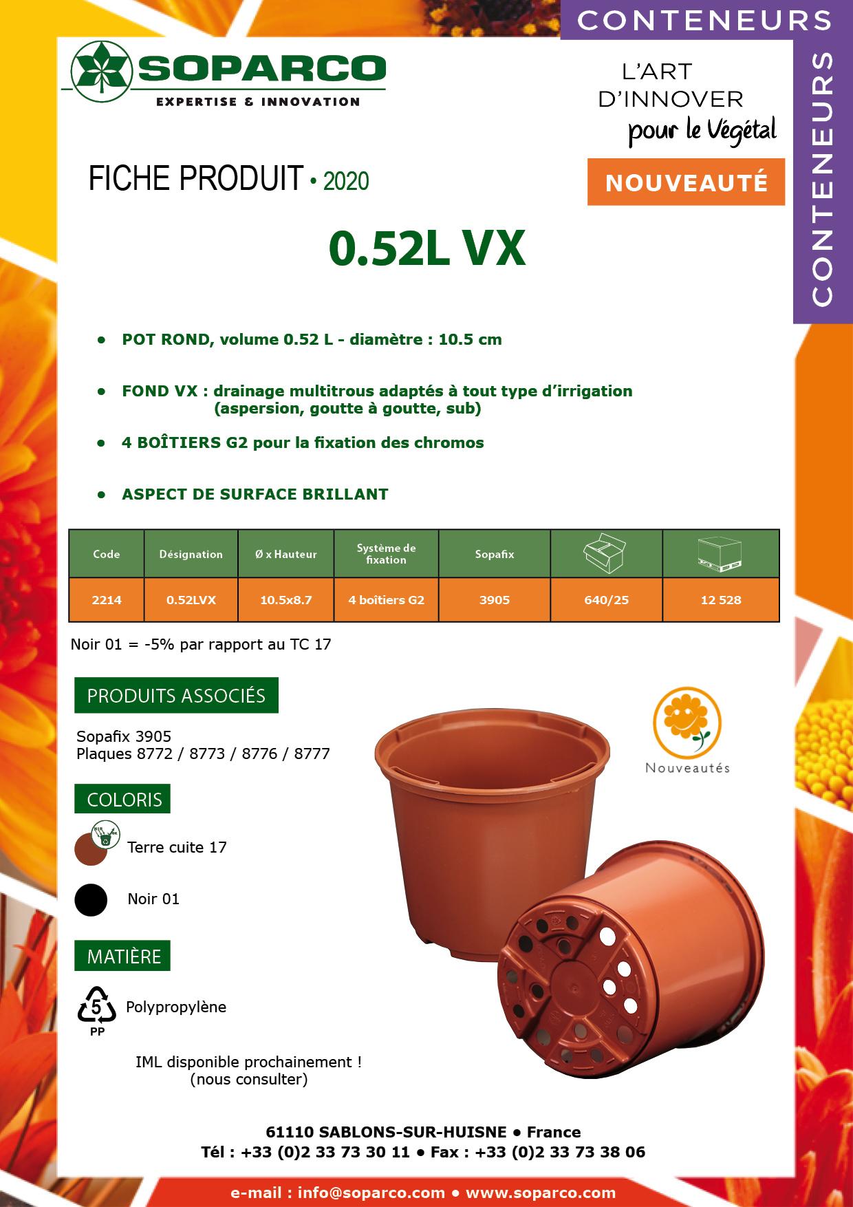 Fiche produit du pot v rond 0.52L VX